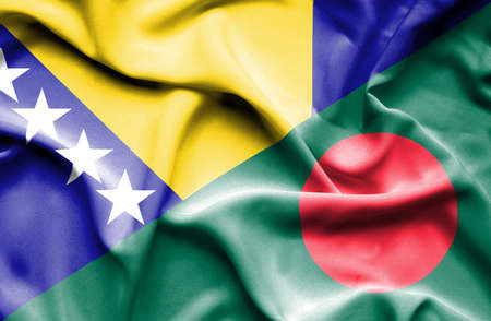 bosnia: Waving flag of Bangladesh and Bosnia and Herzegovina Stock Photo
