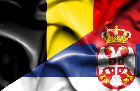 serbia: Waving flag of Serbia and Belgium