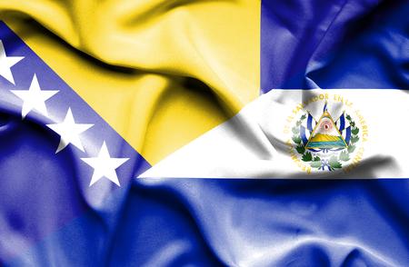bosnian: Waving flag of El Salvadorand Bosnia and Herzegovina