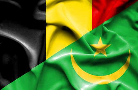 mauritania: Waving flag of Mauritania and Belgium