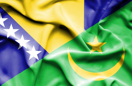 bosnian: Waving flag of Mauritania and Bosnia and Herzegovina Stock Photo