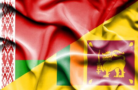 sri lanka: Waving flag of Sri Lanka and Belarus Stock Photo