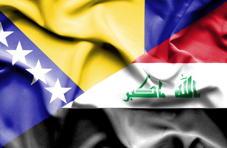 iraq conflict: Waving flag of Iraq and Bosnia and Herzegovina