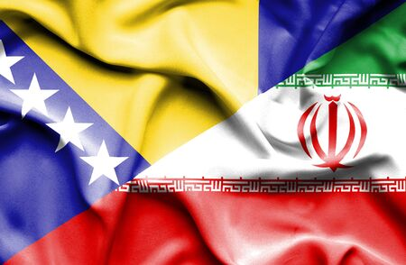bosnia: Waving flag of Iran and Bosnia and Herzegovina Stock Photo