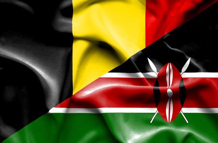 kenya: Waving flag of Kenya and Belgium Stock Photo
