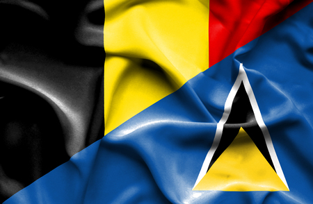 st lucia: Waving flag of St Lucia and Belgium Stock Photo