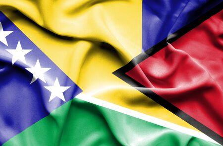 bosnia and herzegovina flag: Waving flag of Guyana and Bosnia and Herzegovina Stock Photo