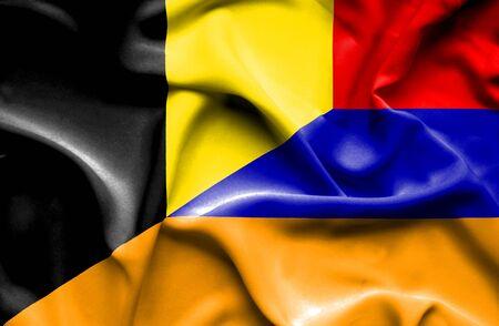 armenia: Waving flag of Armenia and Belgium