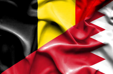 bahrain money: Waving flag of Bahrain and Belgium
