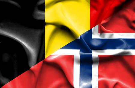 norway flag: Waving flag of Norway and Belgium