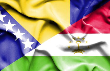 bosnia and herzegovina flag: Waving flag of Tajikistan and Bosnia and Herzegovina