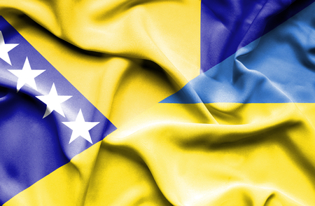 bosnia and herzegovina flag: Waving flag of Ukraine and Bosnia and Herzegovina