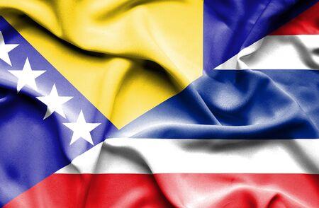 bosnia and herzegovina flag: Waving flag of Thailand and Bosnia and Herzegovina
