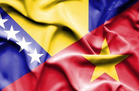 bosnian: Waving flag of Vietnam and Bosnia and Herzegovina