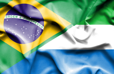 leone: Waving flag of Sierra Leone and