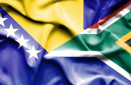 herzegovina: Waving flag of South Africa and Bosnia and Herzegovina