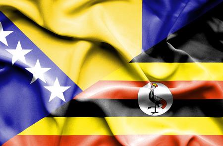 bosnia and herzegovina flag: Waving flag of Uganda and Bosnia and Herzegovina Stock Photo