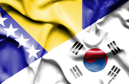bosnia: Waving flag of South Korea and Bosnia and Herzegovina