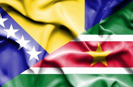 bosnia and herzegovina flag: Waving flag of Suriname and Bosnia and Herzegovina