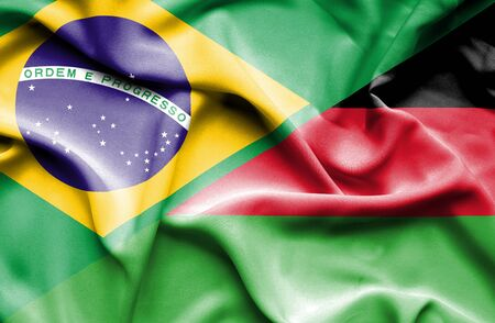malawi: Waving flag of Malawi and Stock Photo