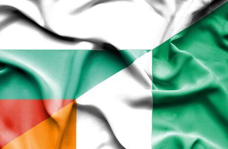 coast: Waving flag of Ivory Coast and Bulgaria