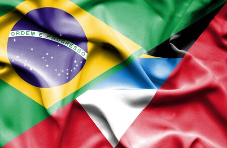 antigua: Waving flag of Antigua and Barbuda and  Brazil Stock Photo