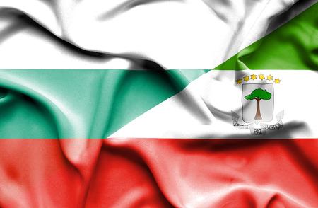 equatorial: Waving flag of Equatorial Giuinea and Bulgaria Stock Photo