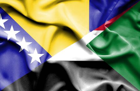 bosnia and herzegovina flag: Waving flag of Sudan and Bosnia and Herzegovina Stock Photo