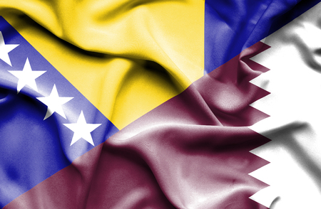 bosnia and herzegovina flag: Waving flag of Qatar and Bosnia and Herzegovina Stock Photo