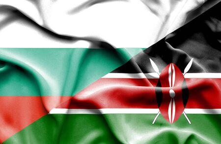 kenya: Waving flag of Kenya and Bulgaria