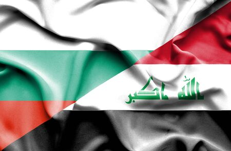 iraq money: Waving flag of Iraq and Bulgaria