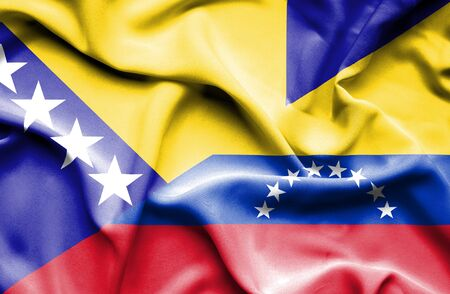 bosnia and herzegovina flag: Waving flag of Venezuela and Bosnia and Herzegovina Stock Photo