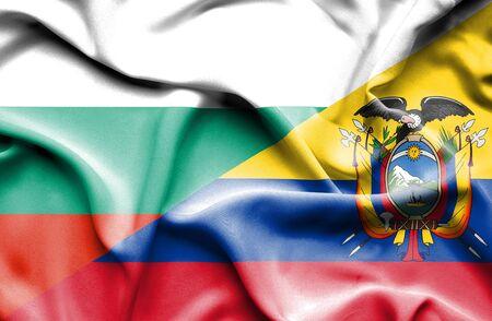 ecuador: Waving flag of Ecuador and Bulgaria
