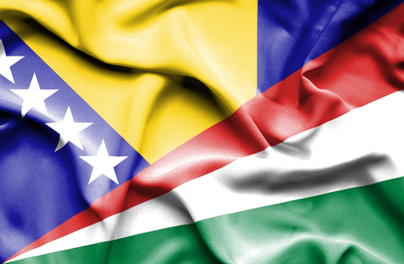 bosnia and herzegovina flag: Waving flag of Seychelles and Bosnia and Herzegovina Stock Photo