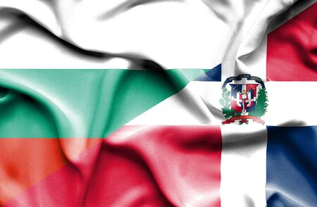 dominican: Waving flag of Dominican Republic and Bulgaria