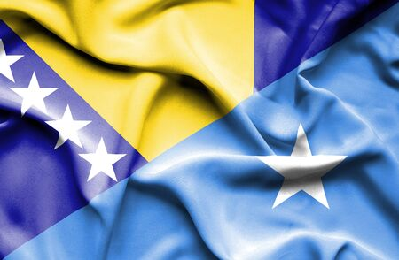 somalian culture: Waving flag of Somalia and Bosnia and Herzegovina Stock Photo