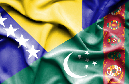 herzegovina: Waving flag of Turkmenistan and Bosnia and Herzegovina