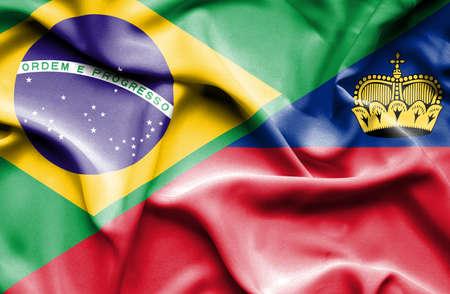 lichtenstein: Waving flag of Lichtenstein and  Brazil Stock Photo