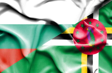dominica: Waving flag of Dominica and Bulgaria
