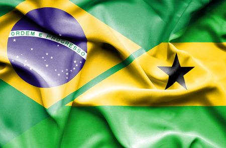 tome: Waving flag of Sao Tome and Principe and