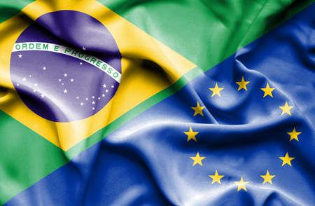 european union: Waving flag of European Union and