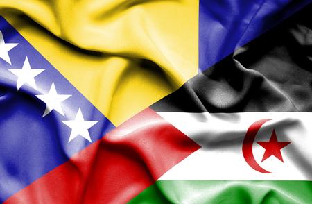 bosnian: Waving flag of Western Sahara and Bosnia and Herzegovina