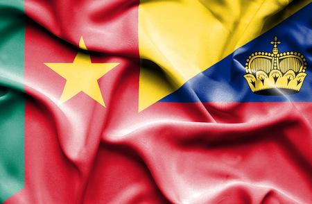 lichtenstein: Waving flag of Lichtenstein and Cameroon
