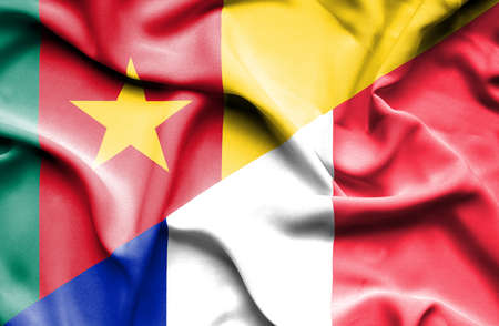 cameroonian: Waving flag of France and Cameroon Stock Photo
