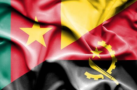 cameroon: Waving flag of Angola and Cameroon