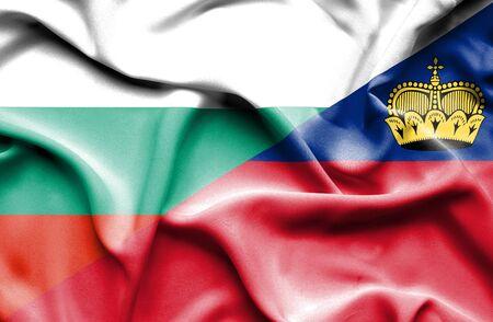 lichtenstein: Waving flag of Lichtenstein and Bulgaria