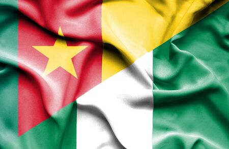 cameroonian: Waving flag of Nigeria and Cameroon