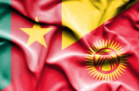 cameroon: Waving flag of Kyrgyzstan and Cameroon