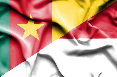 cameroon: Waving flag of Indonesia and Cameroon