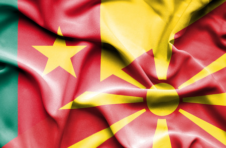 cameroon: Waving flag of Macedonia and Cameroon